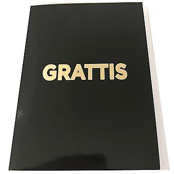 Grattiskort 4-Pak med konvolutter sort med gylden tekst