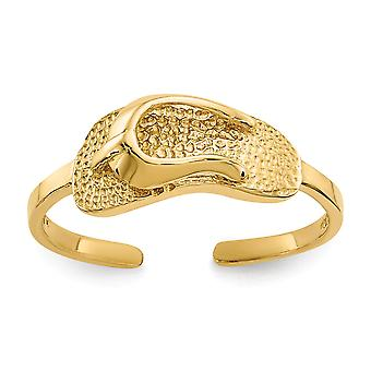 14 k Gelbgold Satin poliert Sandale Toe Ring Schmuck Geschenke für Frauen - 1,2 Gramm