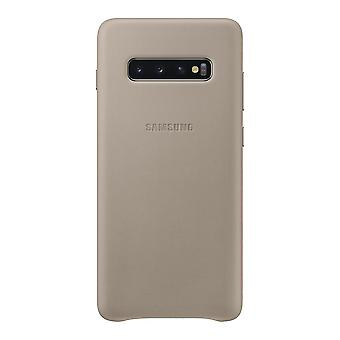 Samsung leather cover grey for Samsung Galaxy S10 plus G975F EF-VG975L bag case protective cover