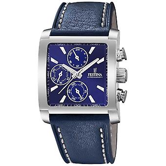 Festina | Mens Stainless Steel Chronograph | Blue Leather Strap | F20424/2 Watch