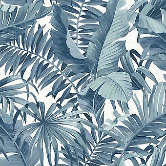 Tropische Wallpaper Leaf Palm Tree Blue White een straat Prints pasta de muur