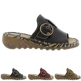 Womens Fly London Tani Bridle Leather Wedge Heel Open Toe Summer Sandals