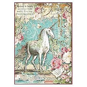 Stamperia Rice Paper A4 Wonderland Unicorn (DFSA4271)