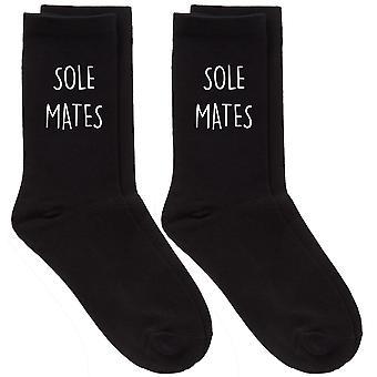 Couples Sole Mates Black Calf Sock Set