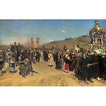 Religious Procession in kursk province,Ilya Repin,60x38cm