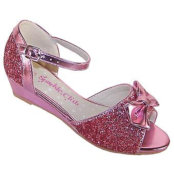 Girls pink sparkly glitter wedge sandals