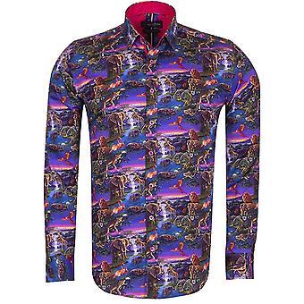 Oscar Banks Animal Kingdom Print Long Sleeve Pure Cotton Mens Shirt