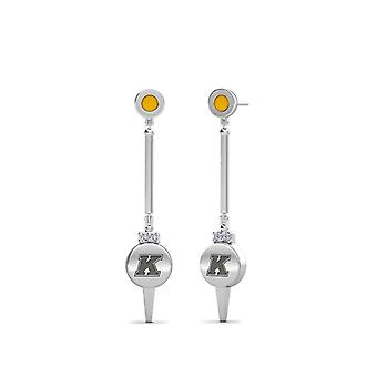 Kent State University Engraved Sterling Silver Diamond Dangle Earrings In Yellow