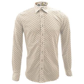 Claudio Lugli Oxford Paisley Pattern Floral Trim Homme sa chemise à manches longues