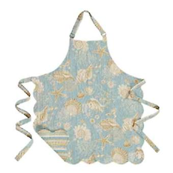Teal Blue Ocean Sea Shell Starfish Quilted Reversible Apron