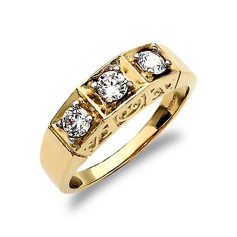 Jewelco London Men's Solid 9ct Yellow Gold White Round Brilliant Cubic Zirconia 3 Stone Trilogy Carved Gypsy Ring
