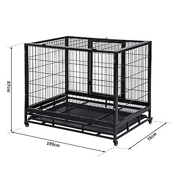 "PawHut 43"" Heavy Duty Metal Dog Kennel Pet Cage with Crate Tray and Wheels - Black (Large)"