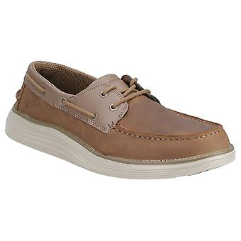 Skechers Mens Status 2.0-Former Moc Toe Leather Lace Up Shoe
