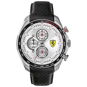 Scuderia Ferrari | Mężczyźni's Speed-Racer | Czarny skórzany pasek | Srebrna tarcza | 0830651 Zegarek