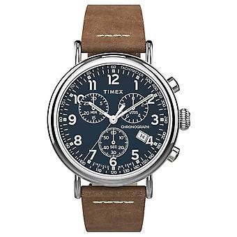 Timex graafi Standardi Chrono 41mm | Ruskea nahka hihna | Sininen Dial | TW2T68900 Watch