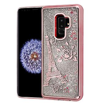 Rosa guld galvanisering/Eiffeltårnet/sølv Quicksand glitter hybrid taske til Galaxy S9 plus