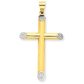 14k Yellow Gold Polished and Rhodium 3-D Hollow Cross Pendant - 1.7 Grams - Measures 44x25mm