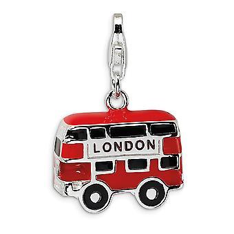 925 Sterling Silver Rhodium plaqué Fancy Lobster Closure Enamel Double Decker London Bus With Lobster Clasp Charm Pendan