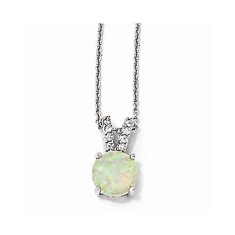 925 Sterling Silver Rhodium plaqué Fancy Lobster Closure Simulated Opal Cabochon and Cubic Zirconia Necklace 18 Inch Jew