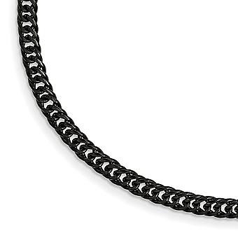Stainless Steel Polished Black Ip plated Double Curb Chain Bracelet  9 Inch Jewelry Gifts for Women