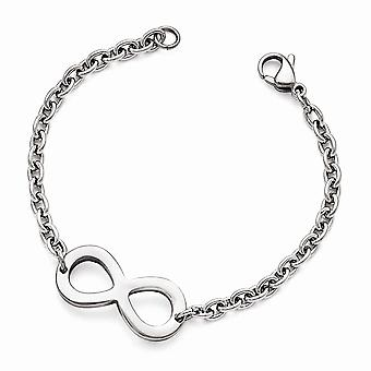 Stainless Steel Polished Infinity Bracelet  7.5 Inch Jewelry Gifts for Women