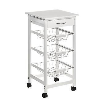 Hout Keuken Trolley met Storage lade en 3 Wire Basket White Veneer Finish