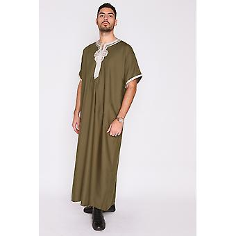 Gandoura badr embroidered short sleeve men's long robe thobe in khaki