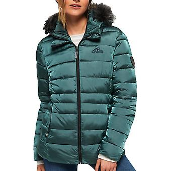 Superdry Women's Taiko Padded Faux Fur Jacket Dark Teal 50