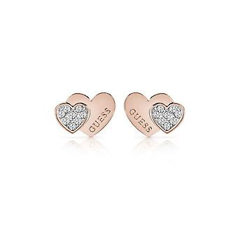 Guess Jewellery Guess Rose Gold Plated Double Heart Stud Earrings UBE84120