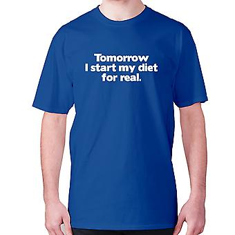 Mens funny gym t-shirt slogan tee workout hilarious - Tomorrow I start my diet for real