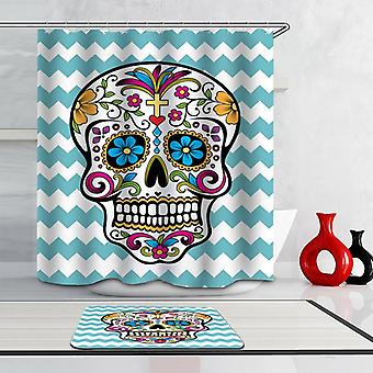 Sugar Skull Over Turquoise Waves Shower Curtain