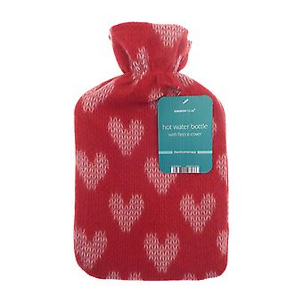 Country Club Printed Fleece Hot Water Bottle, Red Hearts