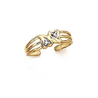 14k Yellow Gold Diamond Double Heart Toe Ring Jewelry Gifts for Women - .01 dwt