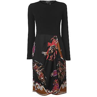DKNY Womens damer besättning hals Långärmad MIDI casual Fashion Dress