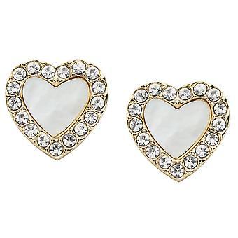 Fossil earrings JF03215710 - VINTAGE GLITZ Dor Nacre C'urs Crystals Transparents 0/9 cm Steel