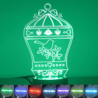 Vogelkäfig mit Fleur de Lis Farbe wechselnde LED Acryl Licht