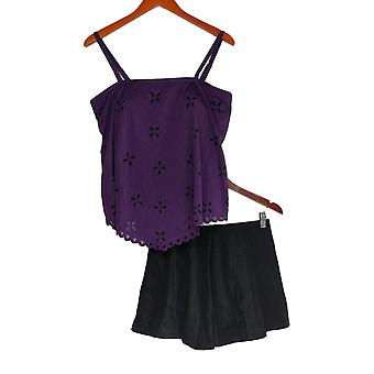 Fit 4 U Swimsuit Handkerchief Laser Cut Tankini Top & Trunk Purple A344368