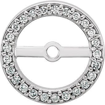 14k Vitt Guld 6.9mm polerad 0,13 Dwt Diamond Örhängen Jackor Smycken Gåvor för kvinnor
