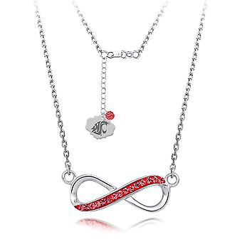 925 Sterling Silver Rhodium Plated Spirit Infinity Necklace Washington State University 18 Inch Jewelry Gifts for Women