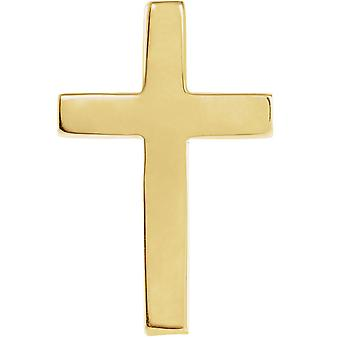 14k Yellow Gold 18x12mm Polished Religious Faith Cross Lapel Pin Jewelry Gifts for Men - .6 Grams