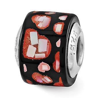 925 plata esterlina pulido reflejos rojo negro simulado madre de perla amor corazones mosaico abalorios encanto colgante neckl