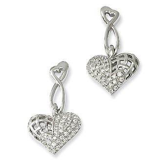 925 Sterling Silver Rhodium plated and CZ Cubic Zirconia Simulated Diamond Dangle Love Heart Post Earrings Jewelry Gifts