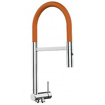 Einhebel verchromte Küche Spüle Mixer mit Orange bewegliche Nisse und 2 Jets Dusche - nur 4,5 cm - 513