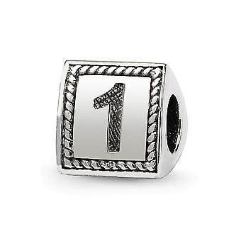 925 Sterling Silver Polished finish Reflections Sport game Number  Triangle Block Bead Charm Pendant Necklace Jewelry Gi