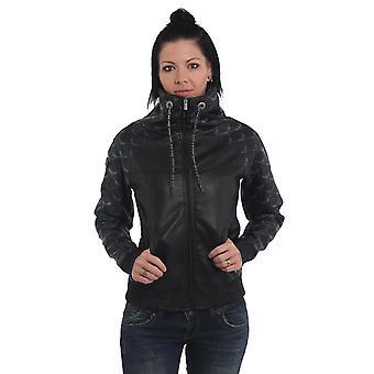 YAKUZA Women's Faux Leather Jacket Memento Mori High Neck