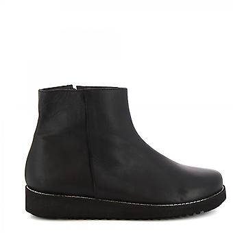 Leonardo Shoes Women's handmade wedges ankle boots black calf leather side zip