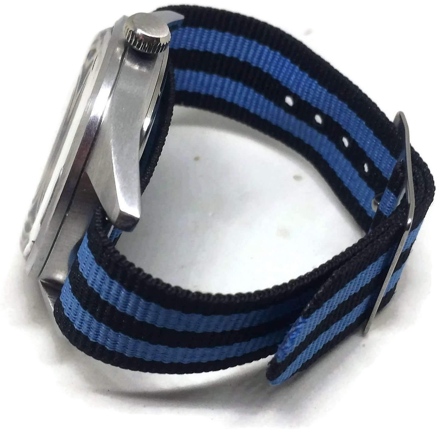 N.at.o zulu g10 watch strap 2 stripe blue and black 14mm to 20mm stainless steel buckle