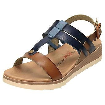 XTI Slingback Low Wedge T Bar Sandals 49845 Blue