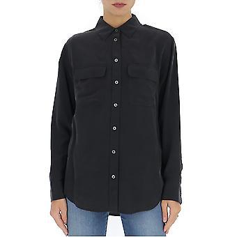 Equipment Q23e035trueblack Women's Black Silk Shirt