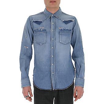 Saint Laurent 601702y880g4273 Men's Light Blue Cotton Shirt